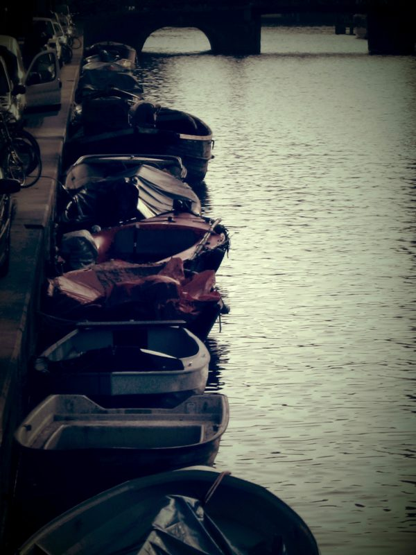 Boats by a canal wall, Amsterdam